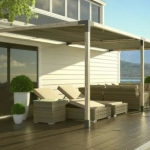 pergola system showcased on a patio
